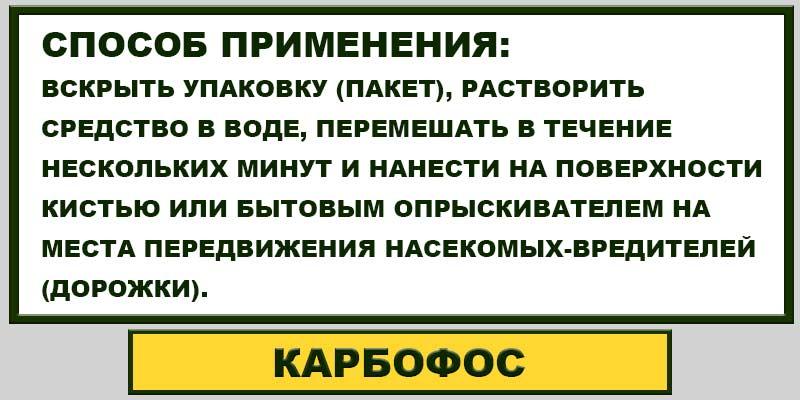 Карбофос от клопов: инструкция по применению